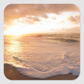 Beach Moorea Island Sunset French Polynesia Square Sticker