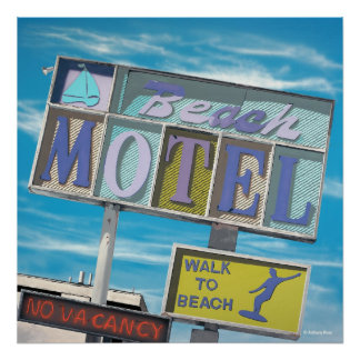 Beach Motel Poster Print