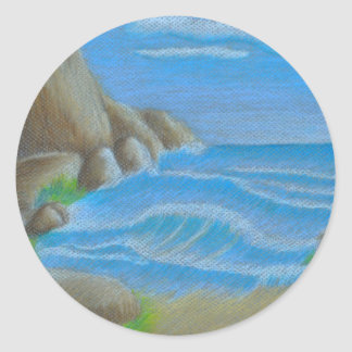 beach mountain classic round sticker