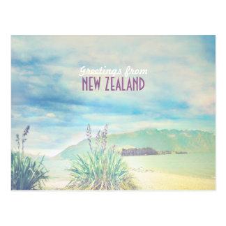 Beach&mountain de Nueva Zelanda Tarjeta Postal