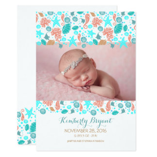 Beach Nautcial Newborn Baby Photo Birth Card