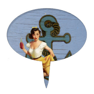 Beach Nautical Anchor Pin Up Girl Sailor Cake Topper
