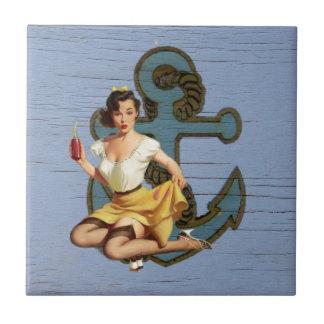Beach Nautical Anchor Pin Up Girl Sailor Ceramic Tile
