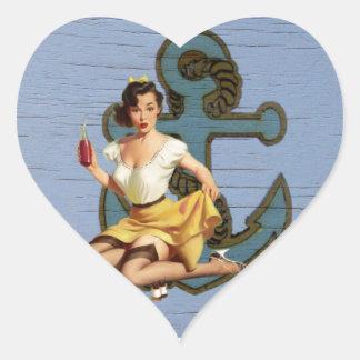 Beach Nautical Anchor Pin Up Girl Sailor Heart Sticker