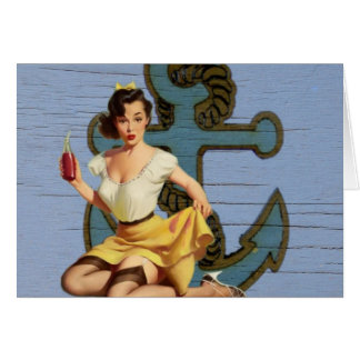 beach nautical anchor vintage pin up girl card
