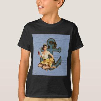 beach nautical anchor vintage pin up girl T-Shirt