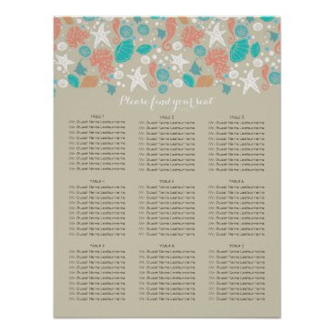 Beach Themed Beach Nautical Coastal Sea Wedding Seating Charts Poster