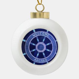 beach nautical navy sailor captain ship wheel ceramic ball christmas ornament