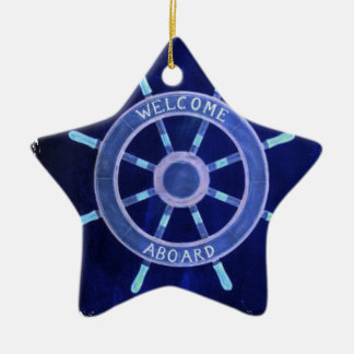 beach nautical navy sailor captain ship wheel ceramic ornament