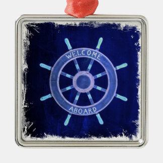 beach nautical navy sailor captain ship wheel metal ornament