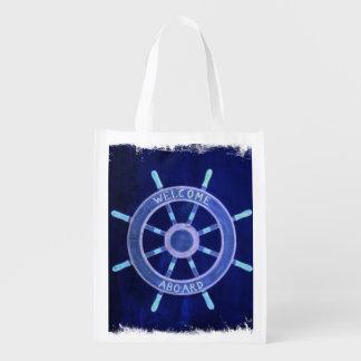 beach nautical navy sailor captain ship wheel reusable grocery bag