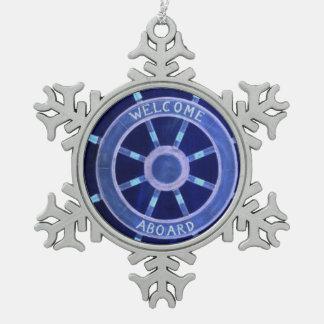 beach nautical navy sailor captain ship wheel snowflake pewter christmas ornament