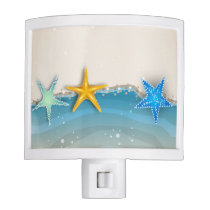 Beach Nautical Night Light with Ocean and Starfish