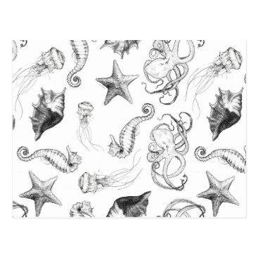 Beach Themed Beach Nautical Ocean Theme Black and White Ink Postcard