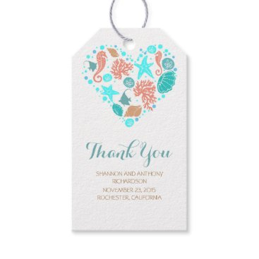Beach Themed Beach Nautical Ocean Treasures Heart Wedding Gift Tags