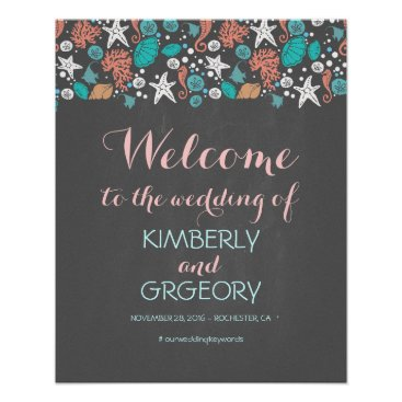 Beach Themed Beach Nautical Ocean Wedding Welcome Sign Poster