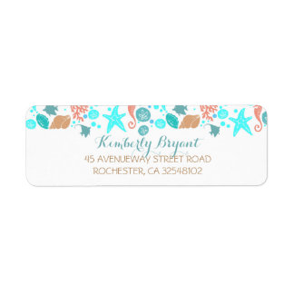 Beach Nautical Turquoise Teal and White Wedding Label