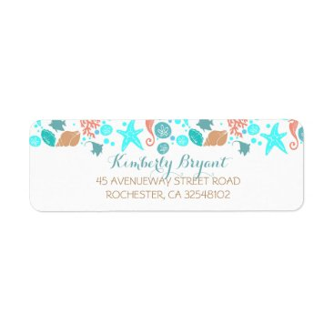 Beach Themed Beach Nautical Turquoise Teal and White Wedding Label