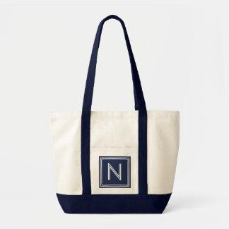 BEACH NAVY BLUE-ANY LETTER MONOGRAM CANVAS BAG