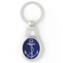 beach navy blue coastal chic nautical  anchor keychain