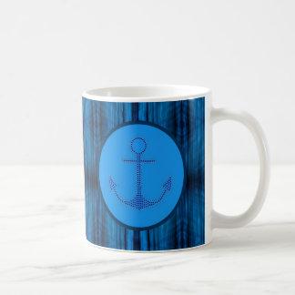 beach navy blue ship anchor nautical coffee mugs