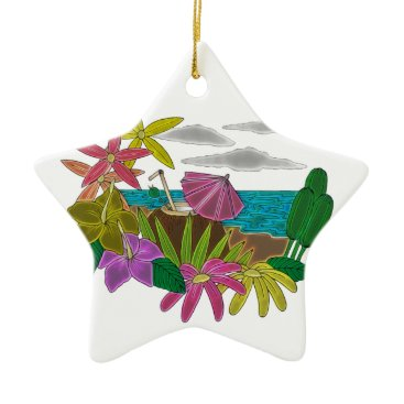 Beach Themed Beach neon ceramic ornament