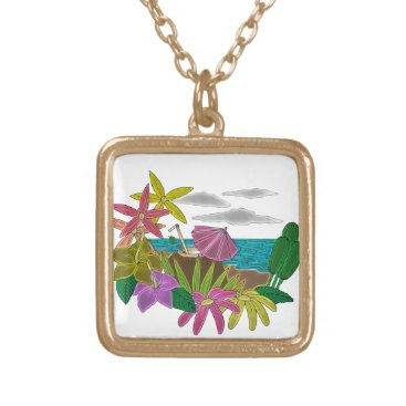 Beach Themed Beach neon gold plated necklace