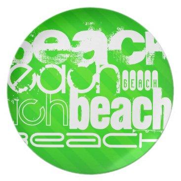 Beach Themed Beach; Neon Green Stripes Dinner Plate