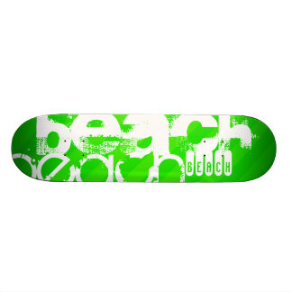 Beach; Neon Green Stripes Skateboard