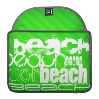 Beach; Neon Green Stripes Sleeve For MacBook Pro