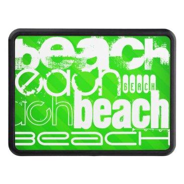 Beach Themed Beach; Neon Green Stripes Trailer Hitch Cover