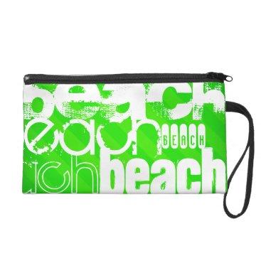 Beach Themed Beach; Neon Green Stripes Wristlet