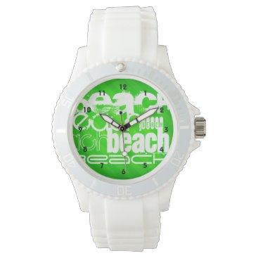 Beach Themed Beach; Neon Green Stripes Wristwatch