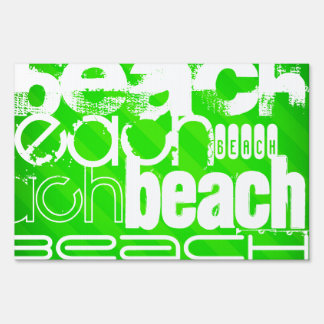 Beach; Neon Green Stripes Sign