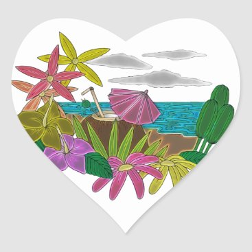 Beach Themed Beach neon heart sticker