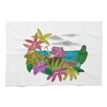 Beach Themed Beach neon kitchen towel
