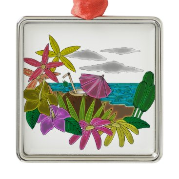 Beach Themed Beach neon metal ornament