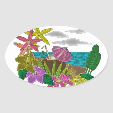 Beach Themed Beach neon oval sticker