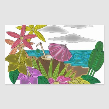 Beach Themed Beach neon rectangular sticker