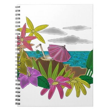 Beach Themed Beach neon spiral notebook