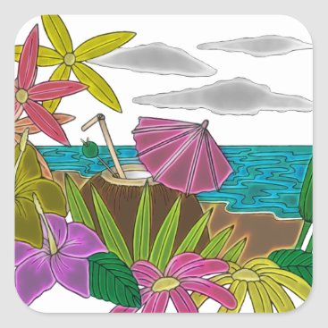 Beach Themed Beach neon square sticker