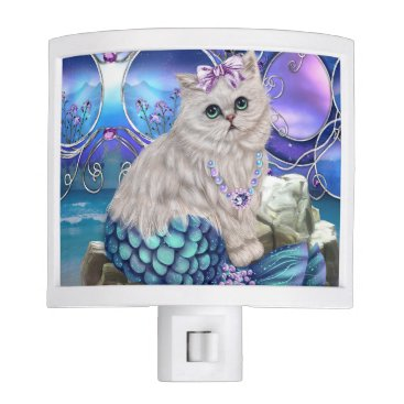 Beach Themed Beach Night Light with Mermaid Cat