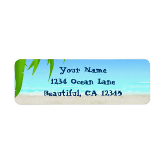 Beach, Ocean and Palm Tree Fronds Label