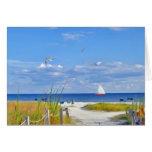 Beach, Ocean, and Sailboat Card