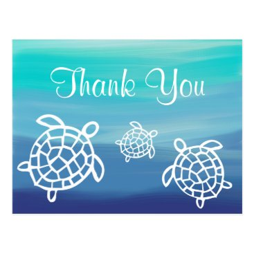 Beach Themed Beach Ocean Honu Turtles Thank You Postcard