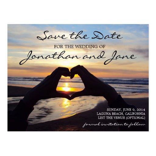 Beach Ocean Love Heart Wedding Save the Date Postcards