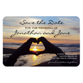 Beach Ocean Love Heart Wedding Save the Date Rectangle Magnet