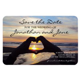 Beach ocean love heart wedding save the date rectangular photo magnet