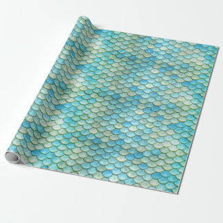 Beach Ocean Mermaid Fish Scales Wrapping Paper