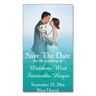 Beach Ocean Mist Photo Wedding Save The Date Magnetic Business Cards (Pack Of 25)
